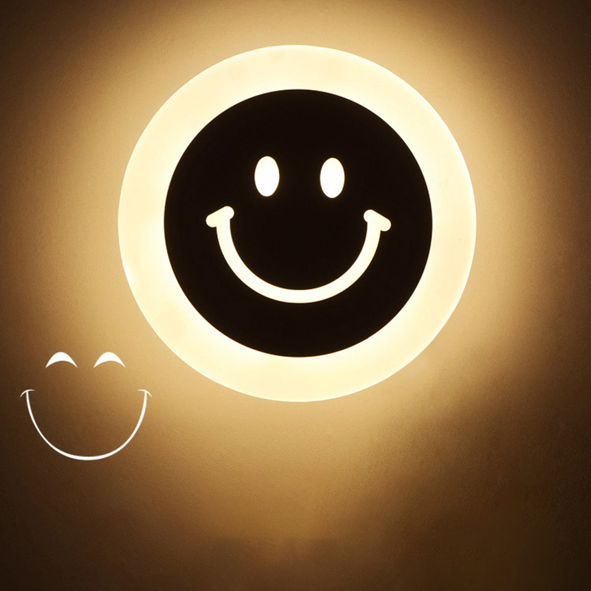 Creative LED Smile Face Wall Light Acrylic Warm Night Light Corridor Aisle Children Roon Bedside Decorative Lamp lampe murale