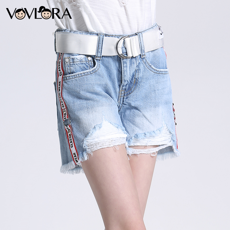 Summer Denim Loose Girls Shorts Hole Burr With Belt Kids Shorts Jeans Casual Ripped Children Pants Size 9 10 11 12 13 14 Years explosion of 2016 summer book kinds of men s denim shorts elastic hole loose straight slim pants breathable male five
