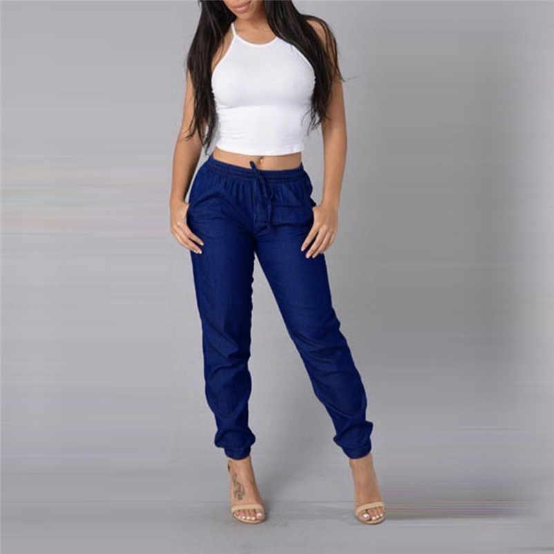 ae1554a0a6b58 Fashion Simple Women female Pants Solid Elastic Waist Casual Pants High  Waist Jeans Daily Casual Trousers