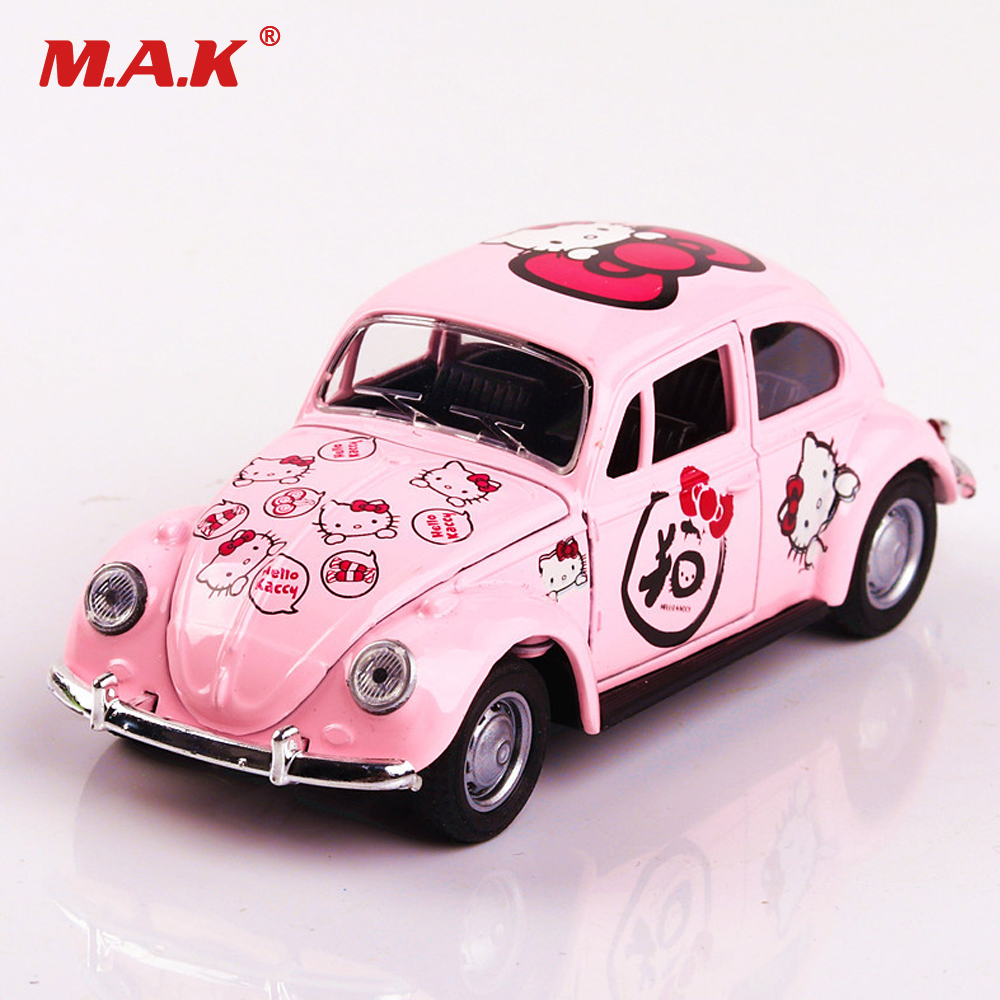 1:32 Diecast Model Car PINK 1/32 Scale Hello Kitty Beetle Classic Car Pull Back Toys w box Collection boy girl Toy Kids Gift ...