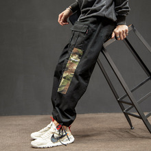 Patchwork Camo Cargo Pants Men 2019 Fashion Baggy Tactical Trouser Male Hip Hop Casual Cotton Multi Pockets Pants Streetwear multi pockets drawstring cuff camo cargo pants