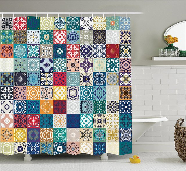 Moroccan Shower Curtain Set Mega Patchwork With Different Colorful Arabic Figures Original Tunisian Artful Bathroom Decor