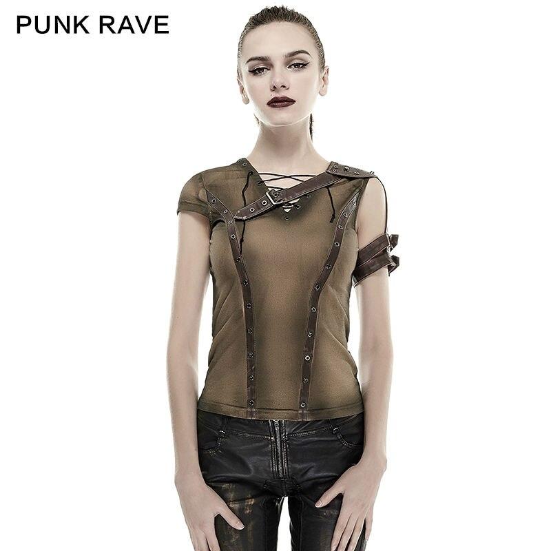 Nouveau Punk Rock vapeur punk t-shirt d'été coton marque qualité visuel kei top Mode cyber blouse vintage harajuku style T433
