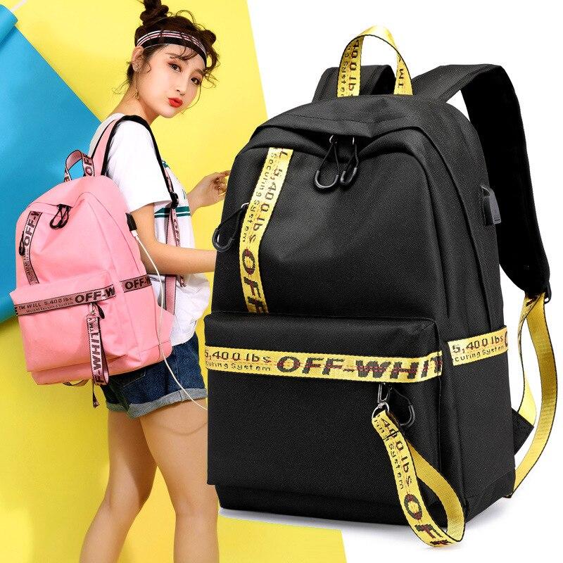 New Casual Shoulder Bag Student Bag USB Charging Socket Nylon Solid Color Backpack Travel Backpack