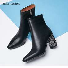 2018 Winter new style genuine leather ankle boots pointed toe thick heel chelsea boots calf leather women boots ladies shoes стоимость