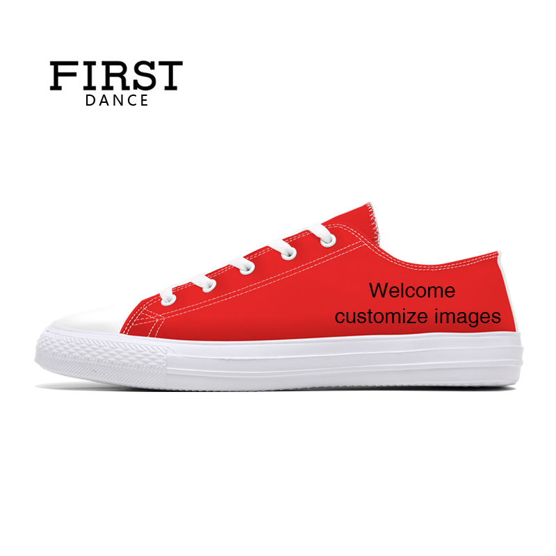 FIRST DANCE Fashion Classic Canvas Shoes Mens Casual Custom Dropshipping Printed Shoes Youth Solid Color Lace Up Flats Women