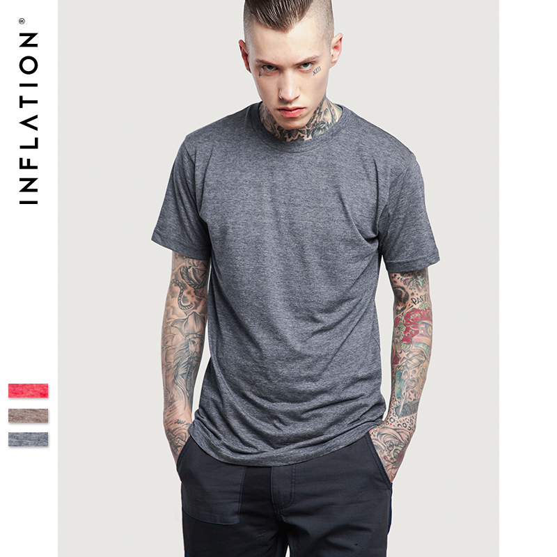 INFLATION 2017 New Style Plain Color T shirts Streetwear Over size ...
