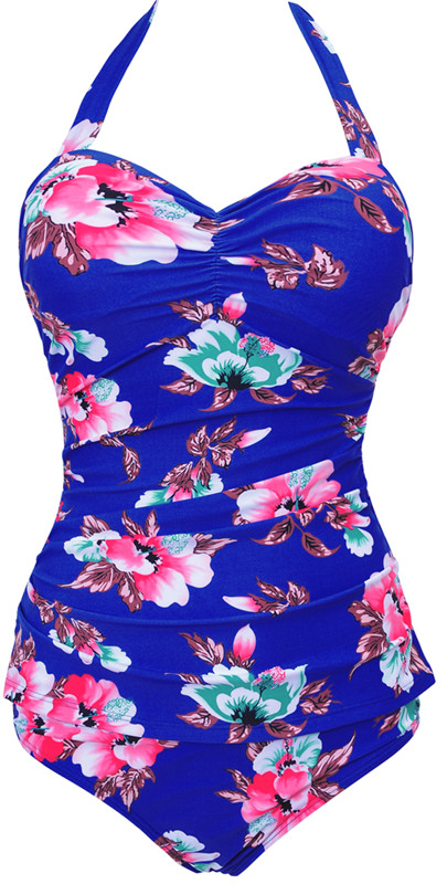 Sexy Women One Piece Flower Print Summer Style Halter Hanging Neck Swimsuit Push Up Bathing Suit Bandage Swimwear Plus Size
