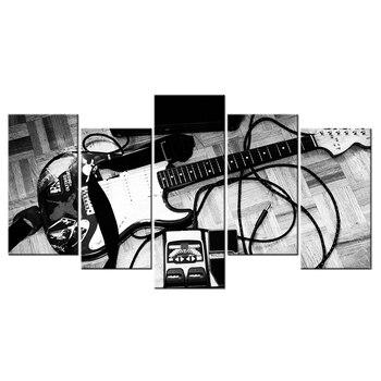 Photos Noir Et Blanc Pour Chambre | Noir Et Blanc Photo Guitare électrique Toile Peinture Musique Art Décor Pour Chambre Murale Décor à La Maison Contemporain Art Mural