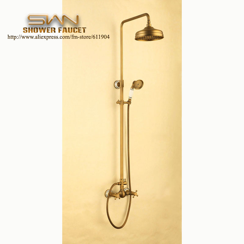 exposed pipe shower faucet. aliexpress.com : buy luxury antique brass exposed wall mount rain shower head faucet set pattern ceramic handheld 1111002bc from reliable pipe