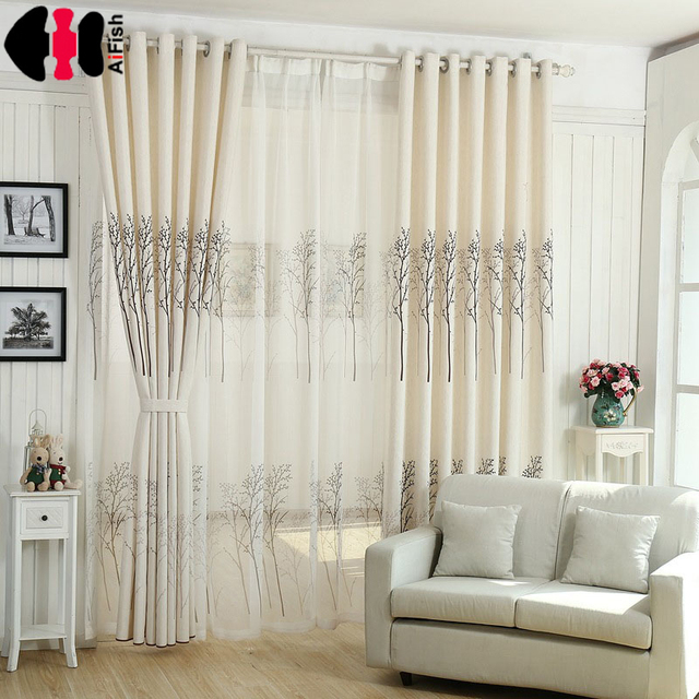 Birch Forest Print Curtains Polyester Cotton Linen Elegant Bedroom Living  Room Wedding French Window Curtain Drape