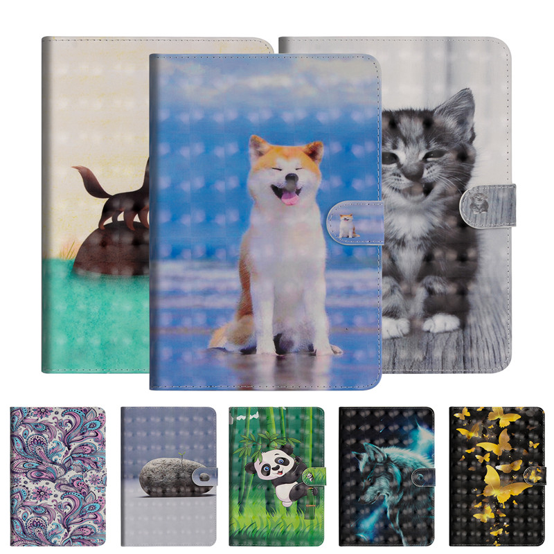 3D Fundas Capa de Couro Dos Desenhos Animados Para Samsung Galaxy TabA A2 10.5 polegada T590 Slots de Cartão Tampa do Suporte Caso para Samsung t590 T595 T597