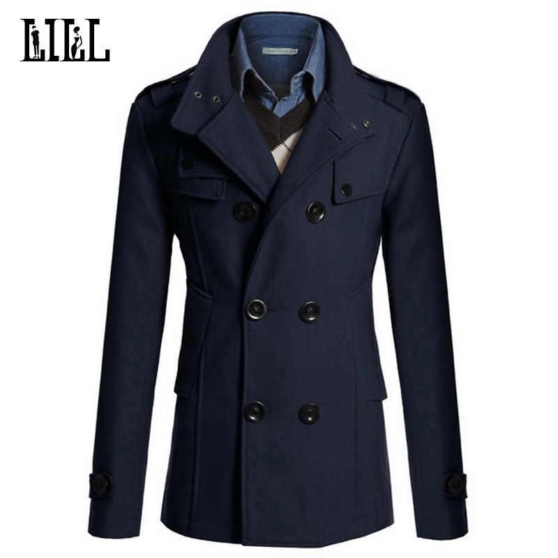 4XL Мужская Повседневная двубортная шерстяная куртка мужской военный стиль Peacoat мужской кашемировый Тренч пальто мужская зимняя куртка UMA396