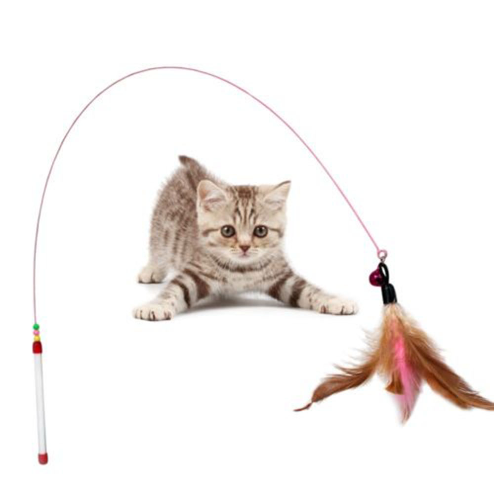 Top quality Pet Cat Toy Cute Design Feather Teaser Wand Plastic Toy for cats Color Multi Products For pet Free shipping