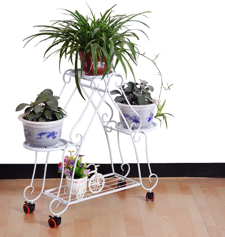 79*68cm European Balcony Fower Pots Shelf With Wheel And Brake Garden  Flower Stands Holder Pergolas Metal Iron Flower Shelf