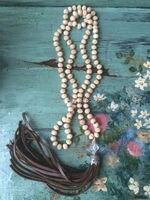 N16101510 Węzeł Brzoskwinia Różowy Kryształy Koraliki Naszyjnik Brązowy Skórzany Fringe Taseel Naszyjnik