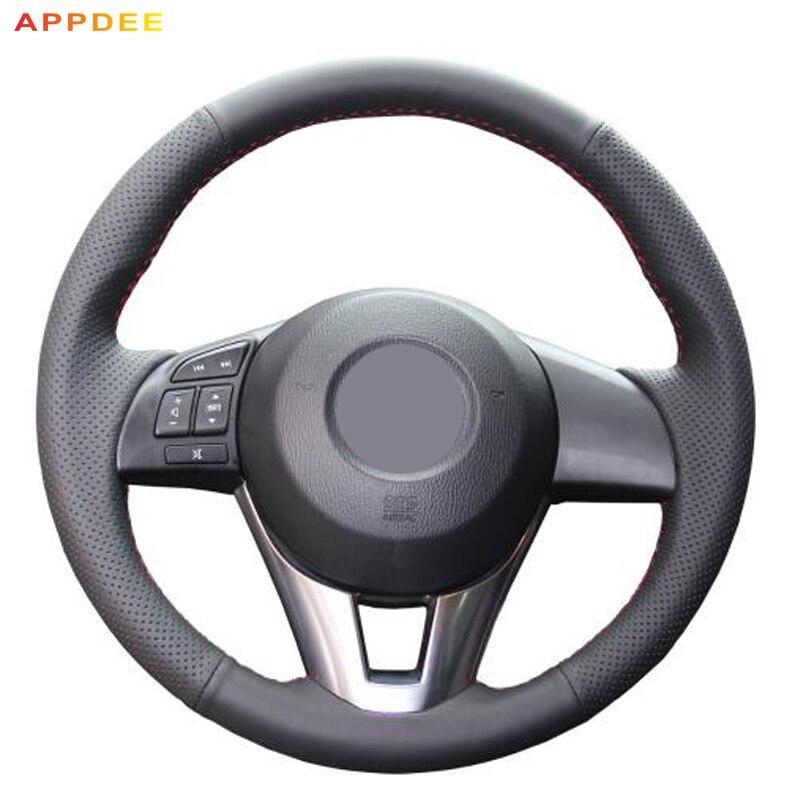APPDEE Black Artificial Leather Car Steering Wheel Cover for Mazda CX-5 CX5 Atenza 2014 New Mazda 3 CX-3 2016 Scion iA 2016