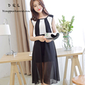 2017 женщин средней длины рукавов шифон лоскутное нерегулярные тонкий цельный dress