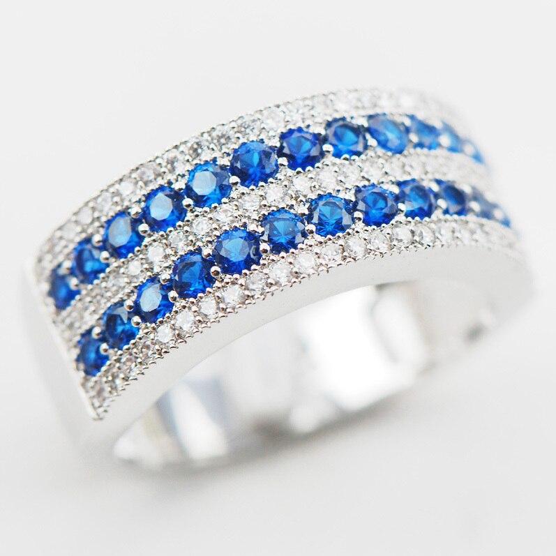 Wit Blauw Kristal Zirkoon Crystal Zirkoon 925 Sterling Zilveren Ring Maat 5 6 7 8 9 10 11 12 A29