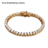 Luxury Dazzling Paved CZ Diamonds Tennis Bracelet Stainless Steel Four Prong With Round Zircons Fashion Chain