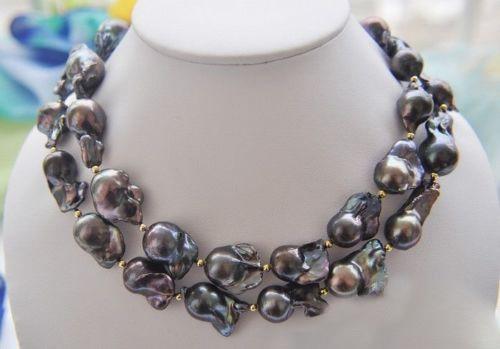 34 28 мм ЧЕРНЫЙ БАРОККО Кеши REBORN жемчужное ожерелье (бесплатно серьги подарок)