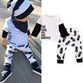 0-3Y Малышей Дети Baby Boy Одежда Прохладный Дизайн Осень-Весна С Длинным Рукавом Футболка Брюки 2 шт. Наряд Детская Одежда набор