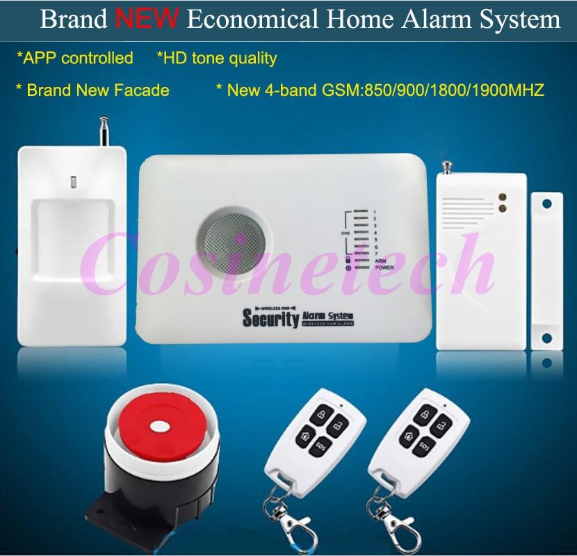 Système d'alarme GSM de sécurité domestique bon marché avec contrôle APP, 7 zones de défense, 3 zones de défense câblées et 70 zones de défense sans fil système d'alarme antivol