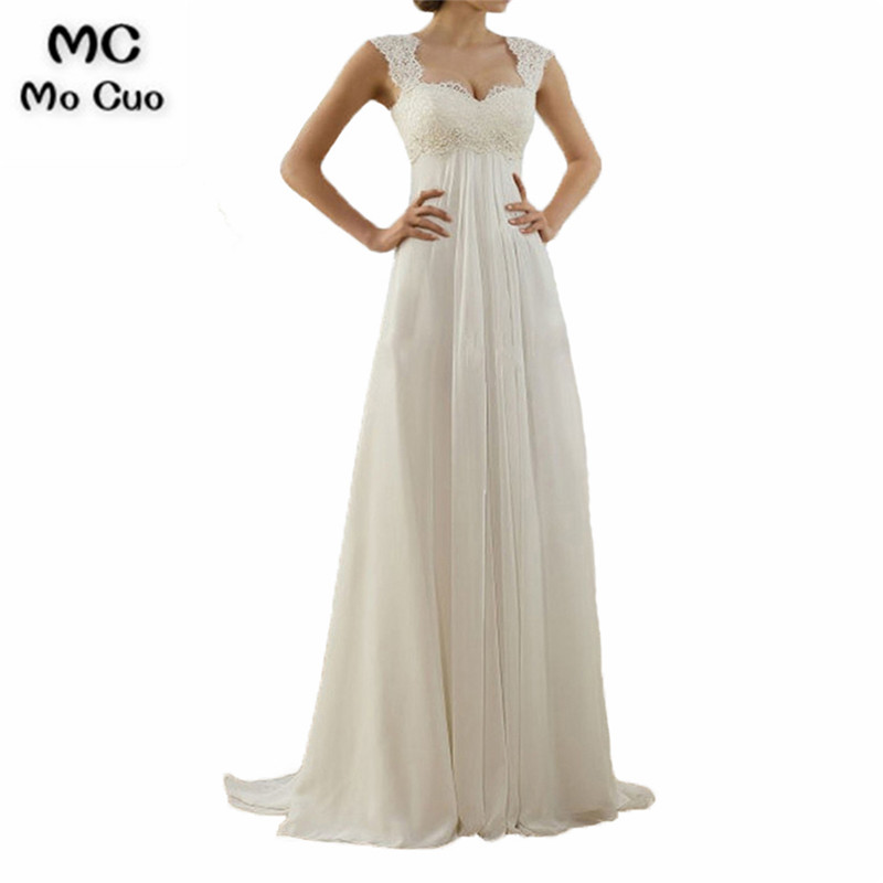 Ready to ship 2018 Chiffon Wedding Dress Bridal Gowns Sheer Lace Appliques Pleated Women Wedding Dresses Vestido De Noiva
