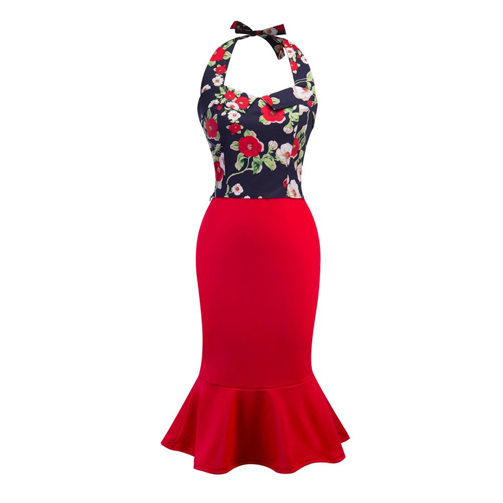 Women Sexy Halter Slim Fit Tops+Bodycon Fishtail Skirt 2Pcs Set Summer Party Clothes Suit FS99