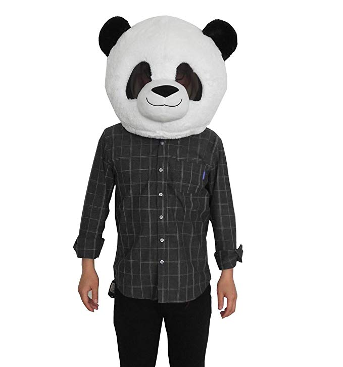 Плюшевые маска в форме головы животного Хэллоуин панда талисман костюм Рождество