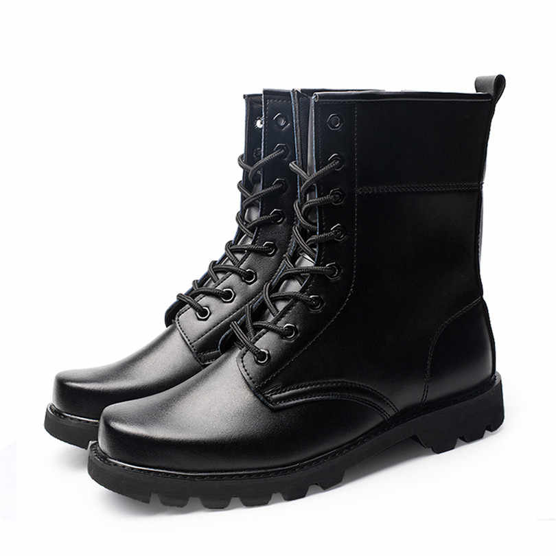LIN KÖNIG Schwarz Männer der Arbeit Sicherheit Stiefel Stahl Kappe Construction Schutz Schuhe Schuhe Wasserdicht Spitze Up Männliche Motorrad Stiefel