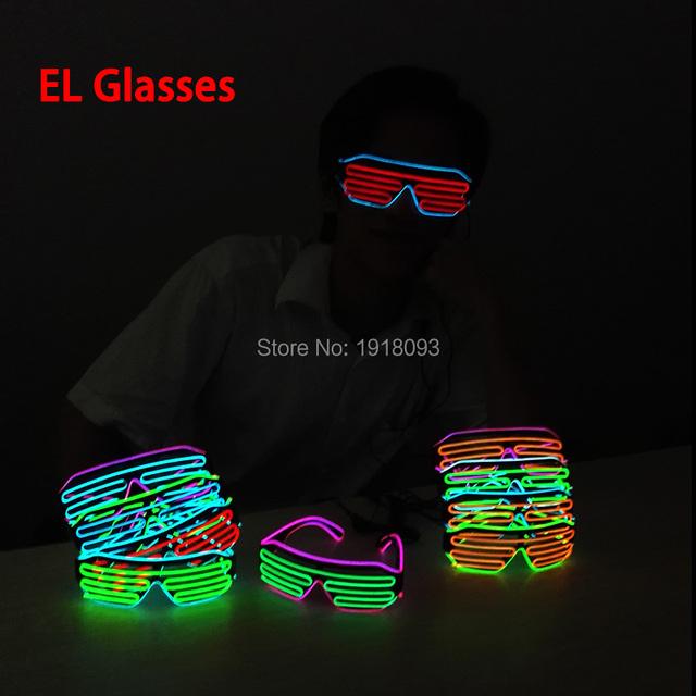 17 estilo dc-3v piscando 2 cores misturadas light up el fio obturador óculos óculos de neon led novelty iluminação para o clube do partido do festival