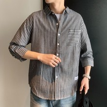 Short-sleeved shirt summer port wind stripe Korean version of the trend handsome sleeve men's loose Thin Chinese Style