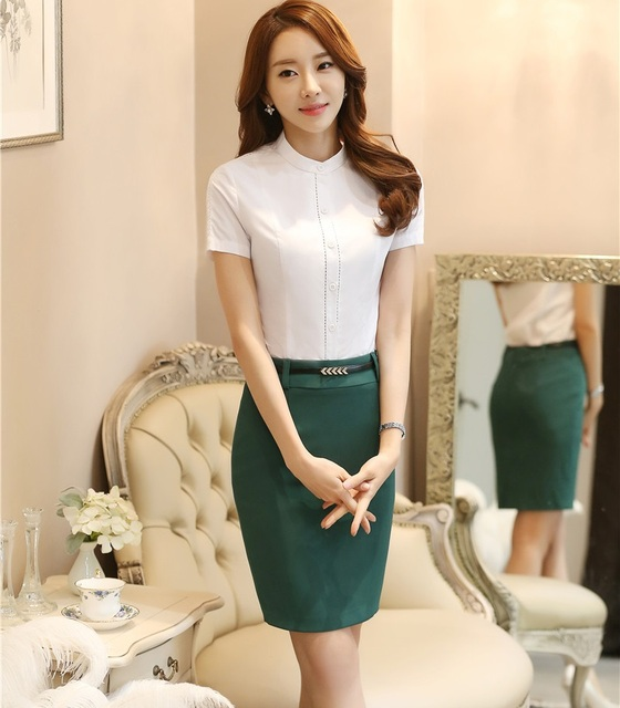 Novelty White Fashion Professional Business Suits Tops And Skirt 2016 Summer Short Sleeve OL Shirts Blouse Sets Work Wear
