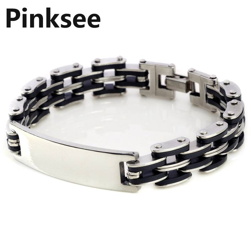 Acero Inoxidable Pulsera Brazalete Muneca Eslabones Link Enlace Plata BizantY5G3