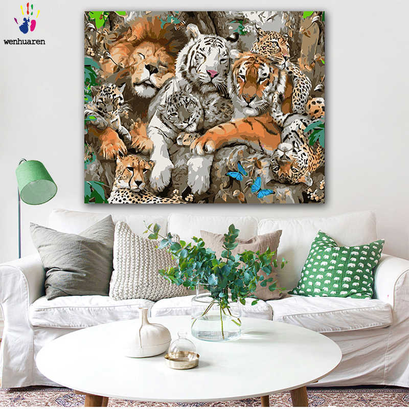 DIY colorings pictures by numbers with colorsWarm animal picture picture drawing painting by numbers framed Home