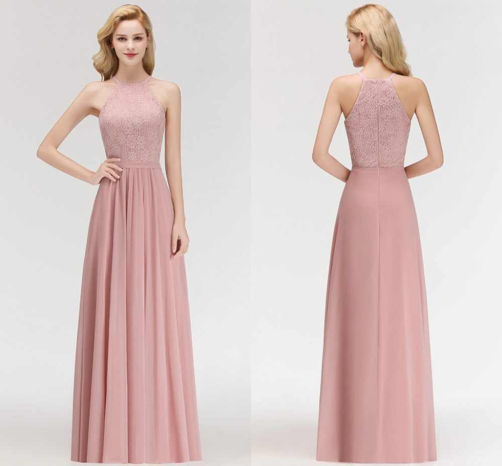 7fc9584c15 ... New Dusty Pink Halter Bridesmaid Dresses Chiffon Floor length Country Beach  Wedding Guest Party Gowns Cheap ...
