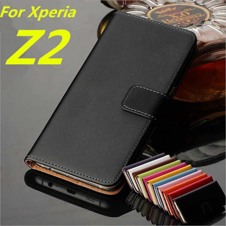 עבור Sony Z2 כיסוי מקרה פרימיום עור ארנק Case Flip עבור Sony Xperia Z2 L50w D6502 D6503 עם כרטיס חריצים ומזומן מחזיק GG