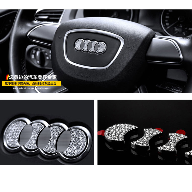 Car Steering Wheel Crystal Logo Sticker Trim Decal Fit For Audi A4 A6 S4 A8 Q5 Q7