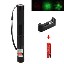 Buy Powerful Green Laser Pointer Pen Lazer Visible Beam with Star Cap +18650 Battery + Charger Black