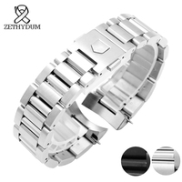 Solid Stainless Steel Watchband 22mm Mens watches top brand luxury silver Black Strap Replacement Steel Silver Watch bands