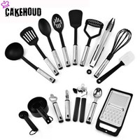 CAKEHOUD 24PCS Stainless Steel And Food Grade Silicone Kitchen Cooking Tools Spatula And Spoon Nonstick Cookware Baking Tools