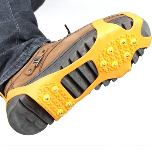 Pair Ice Snow Shoe Spikes Grips Crampons Cleats Climbing Orange M quality m l size crampons 8 teeth outdoor mountaineering hiking antislip ice snow spikes shoe crampons shoe spikes skidproof