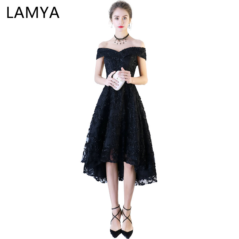LAMYA Plus Size Vintage Off The Shouler   Prom     Dresses   Short Front Back Long Tail Evening   Dress   2018 Formal Party Gown For Women