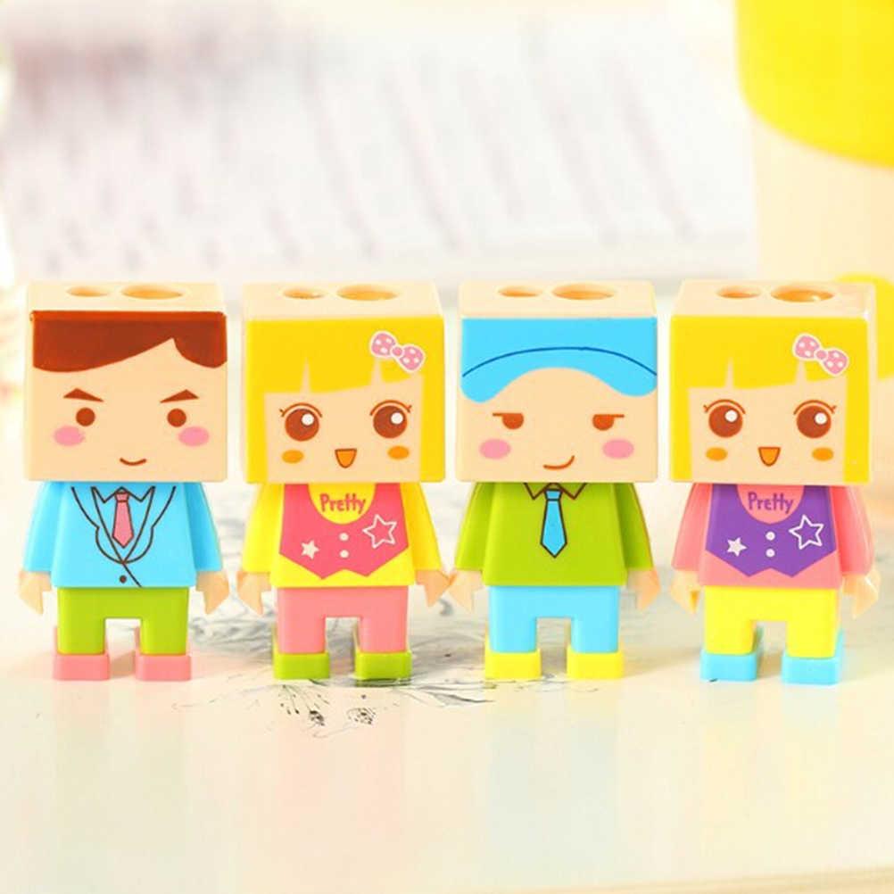 Творческий кукла двойные отверстия точилка для карандашей комплект с Ластики детский подарок приз офис школьные принадлежности канцелярские карандаш ножи