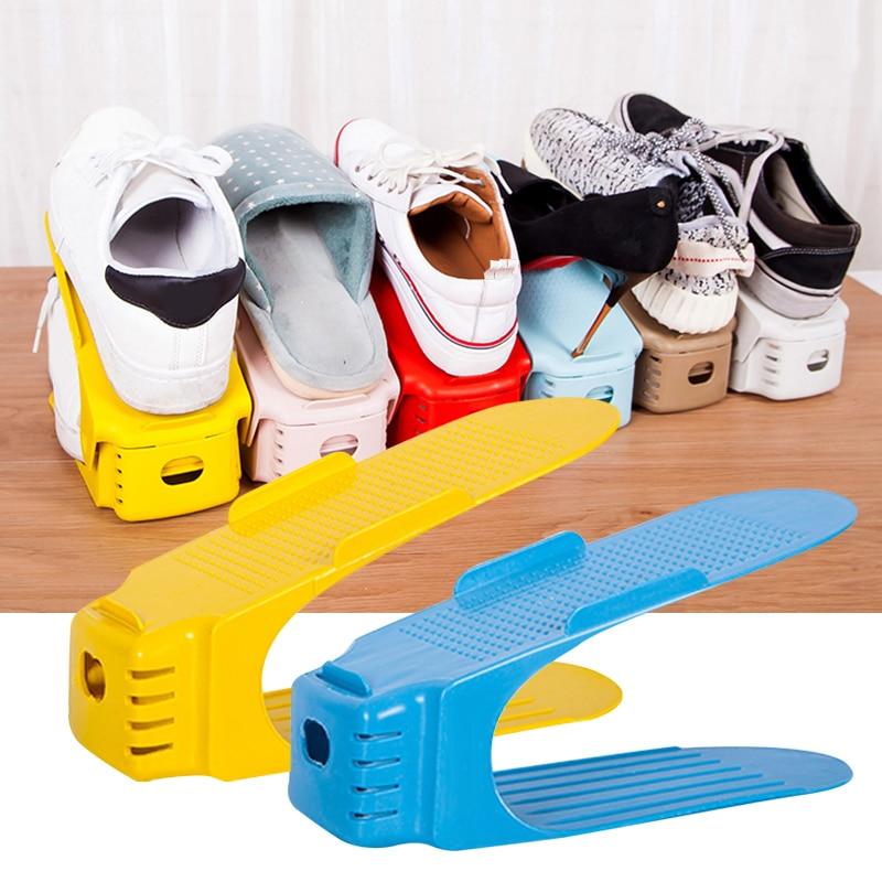 Black Multi-size Shoe Slot Space Saver Easy Shoes Organizer Plastic Rack Holder