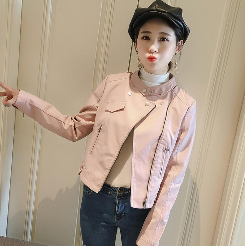 2018 autumn PU leather jacket women fashion motorcycle stand collar white black pink short slim washed pu jacket s1375