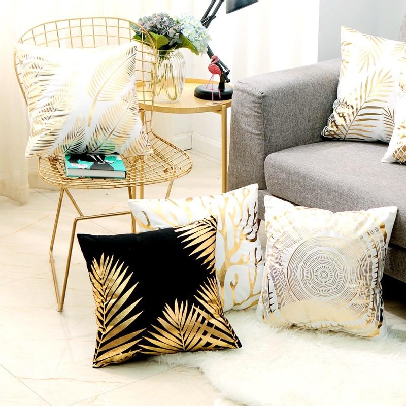 Gold Pineapple And Flamingo Cushion Bronzing Gold Foil Cushions Decorative Pillow Home Decor Sofa Throw Pillows 17*17inch