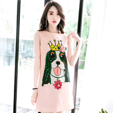 Высокое качество 2018 Новые Модные Дизайнерские летние женское платье с принтом собаки элегантный блесток розовый мини-платье без рукавов