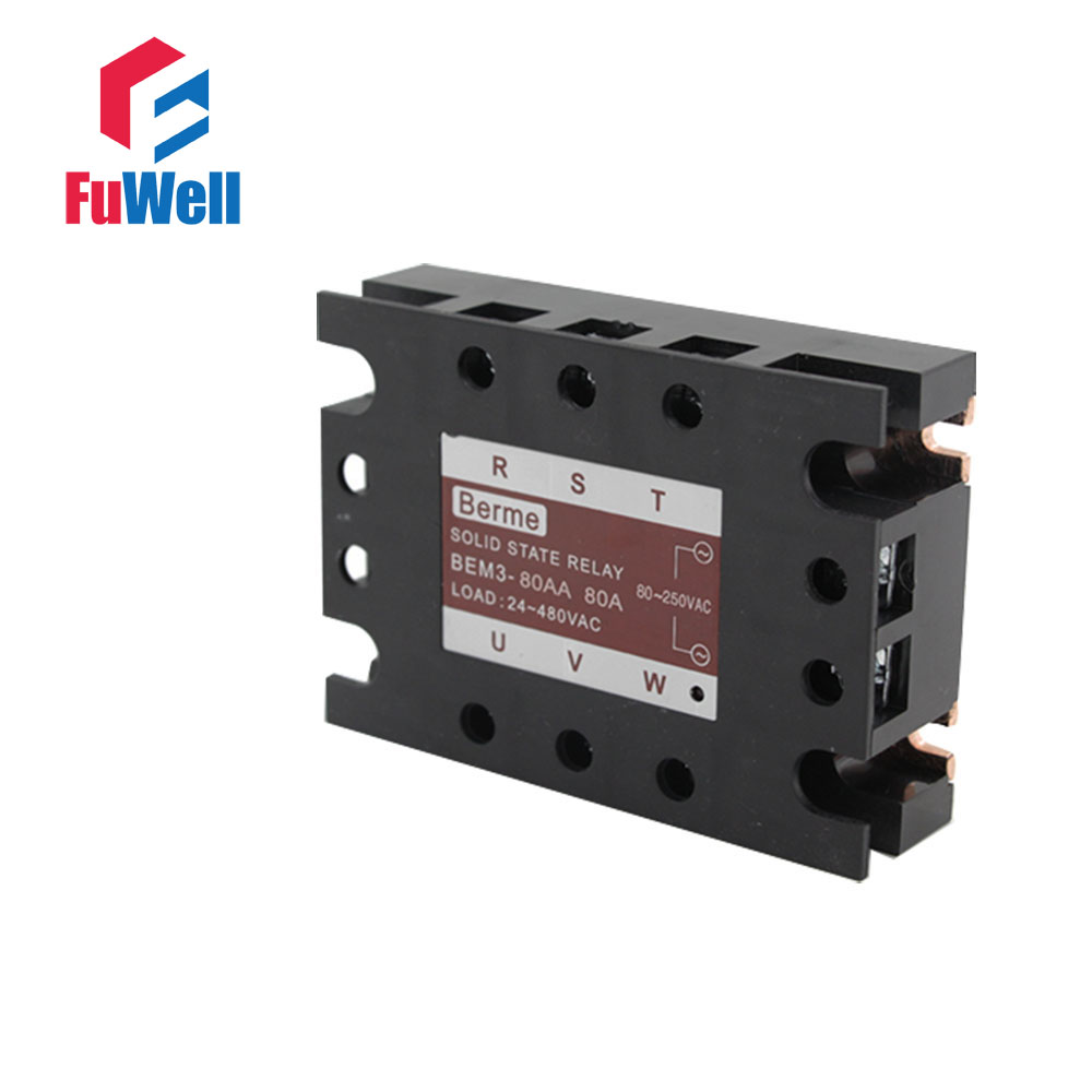 3-phase Solid State Relay SSR AC-AC 80AA Input 80-250V AC Load 24-480V AC 40aa ssr input 90 250v ac load 24 480v ac high voltage single phase ac solid state relay